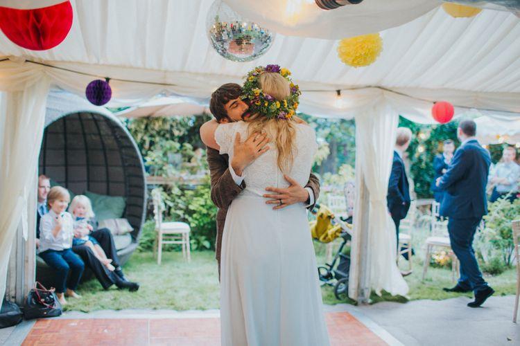 First Dance | Bride in ASOS Wedding Dress | Groom in Tweed Suit | Bright DIY Back Garden Wedding | Lisa Webb Photography | Bright DIY Back Garden Wedding | Lisa Webb Photography