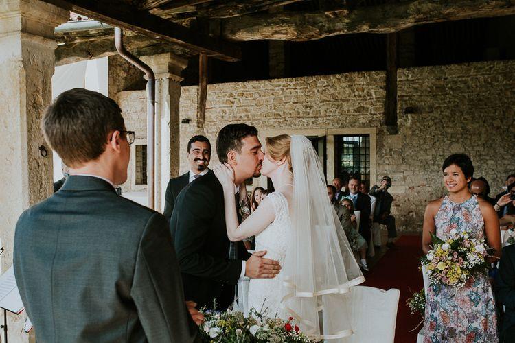 Outdoor Wedding Ceremony | Bride in David's Bridal Wedding Dress | Intimate Love Memories Photography