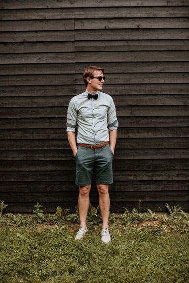 Groom In Shorts & Shirt For Relaxed Festival Wedding