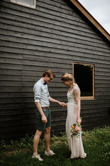 First Look At Festival Wedding On A Campsite In Holland With A Picnic Reception & Images From Green Antlers Photography