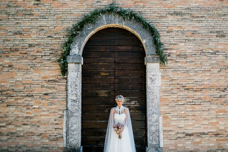 Rustic Wedding In Italy With Dried Flower Bouquets & Flower Crowns And Bride In High Necked Lace Gown With Images From Andrea Calvano