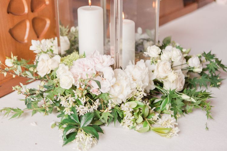 White Wedding Flowers With Candles