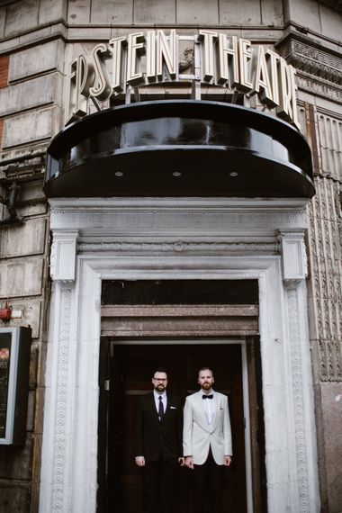 Groom & Groom in Tuxedos Outside The Epstein Theatre Liverpool