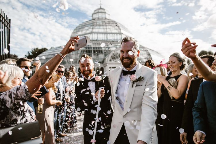 Groom & Groom in Tuxedos Confetti Portraits
