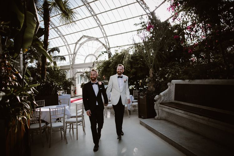 Groom & Groom in Tuxedos at Sefton Park Palm House Liverpool
