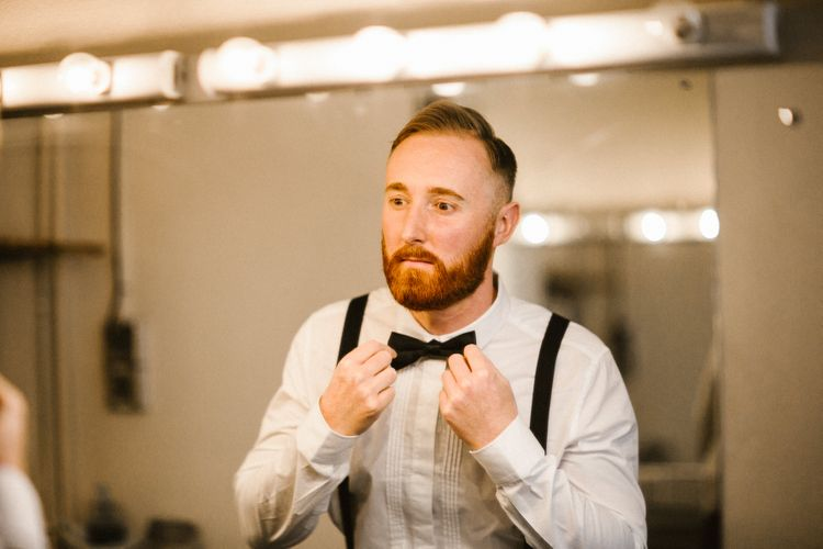 Bearded Groom in Bow Tie & Braces