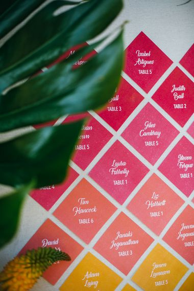 Pink & Orange Ombre Wedding Table Plan With Diamonds