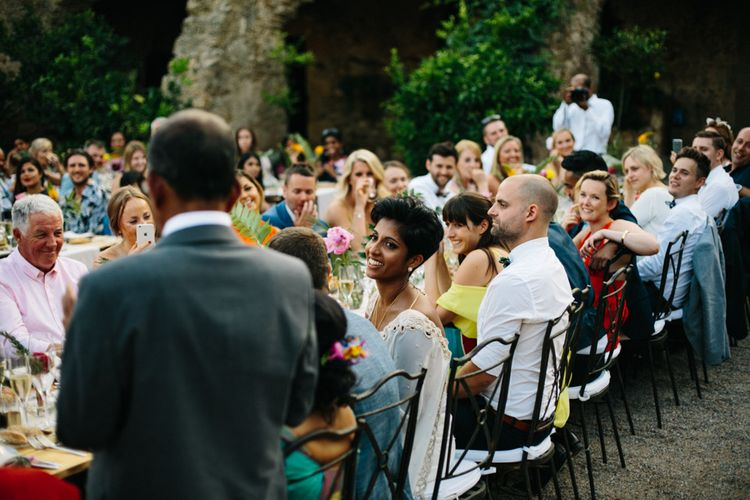 Tropical Inspired Wedding Decor For An Outdoor Wedding Reception In Spain