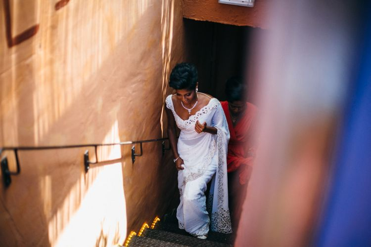 Bride In White & Gold Sari