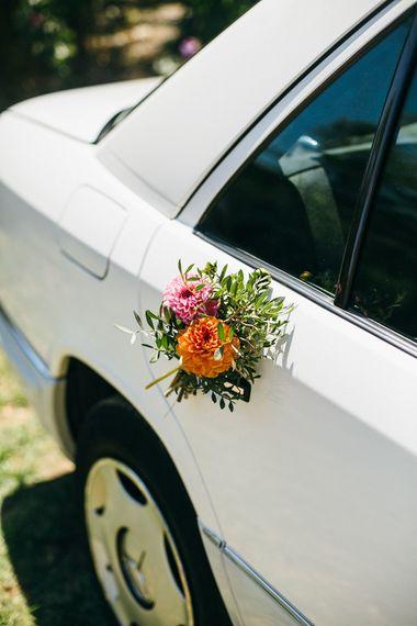 Flowers On Wedding Car