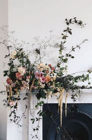 Floral Installation On Fireplace By Vervain Flowers