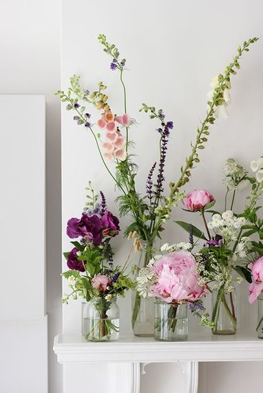 Foxgloves & Peonies In Bud Vases For Wedding Decor // Image By A Quiet Style