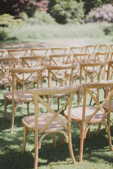 Outdoor Wedding Ceremony Chairs | Outdoor Peach Wedding at Courteenhall House in Northamptonshire Planned by Your Story Events | Ferri Photography