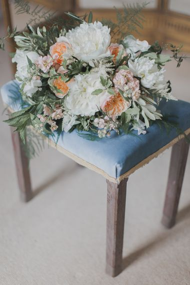 White & Peach Wedding Bouquet | Outdoor Peach Wedding at Courteenhall House in Northamptonshire Planned by Your Story Events | Ferri Photography