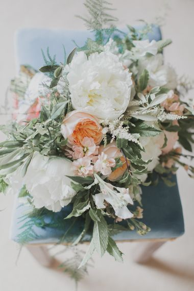 White & Peach Bridal Bouquet | Outdoor Peach Wedding at Courteenhall House in Northamptonshire Planned by Your Story Events | Ferri Photography