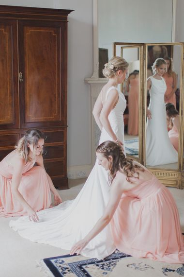 Wedding Morning Bridal Preparations | Bride in Justin Alexander Gown | Outdoor Peach Wedding at Courteenhall House in Northamptonshire Planned by Your Story Events | Ferri Photography