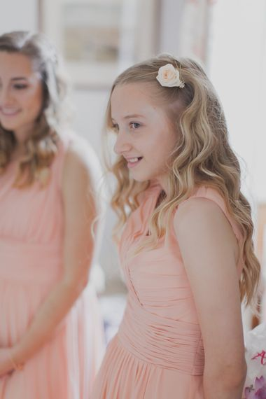 Wedding Morning Bridal Preparations | Bridesmaids in Peach Sexyher Dresses | Outdoor Peach Wedding at Courteenhall House in Northamptonshire Planned by Your Story Events | Ferri Photography