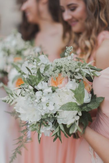 Peach & White Bouquet | Outdoor Peach Wedding at Courteenhall House in Northamptonshire Planned by Your Story Events | Ferri Photography