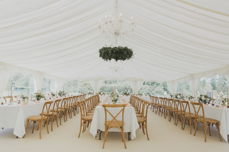 Marquee Reception | Greenery Installation | Outdoor Peach Wedding at Courteenhall House in Northamptonshire Planned by Your Story Events | Ferri Photography