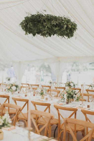 Greenery Installation | Marquee Reception | Outdoor Peach Wedding at Courteenhall House in Northamptonshire Planned by Your Story Events | Ferri Photography