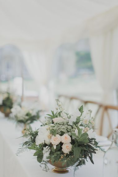 Wedding Flower Centrepieces | Outdoor Peach Wedding at Courteenhall House in Northamptonshire Planned by Your Story Events | Ferri Photography