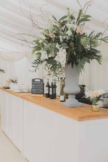 Bar | Outdoor Peach Wedding at Courteenhall House in Northamptonshire Planned by Your Story Events | Ferri Photography