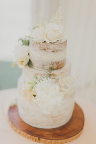 Homemade Semi Naked Wedding Cake | Outdoor Peach Wedding at Courteenhall House in Northamptonshire Planned by Your Story Events | Ferri Photography