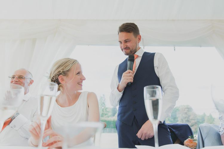 Speeches | Outdoor Peach Wedding at Courteenhall House in Northamptonshire Planned by Your Story Events | Ferri Photography