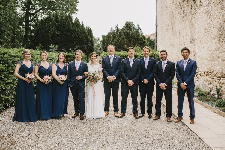Elegant French Chateau Wedding With Bride In Catherine Deane & Bridesmaids In Navy ASOS Dresses Images By Green Antlers Photography