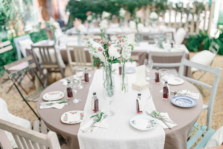 Tablescape | Secret Garden Reception at Castle Cottage Cafe, Oakham | White Stag Wedding Photography