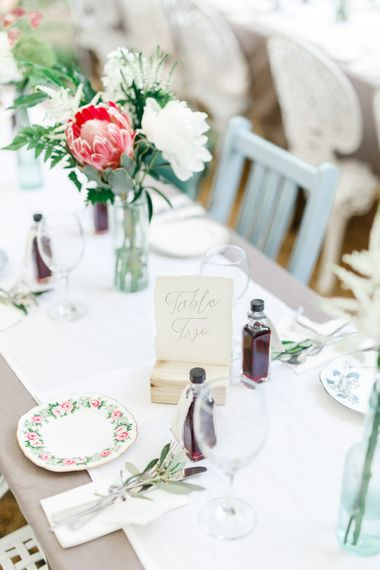 Calligraphy Table Names | Secret Garden Reception at Castle Cottage Cafe, Oakham | White Stag Wedding Photography