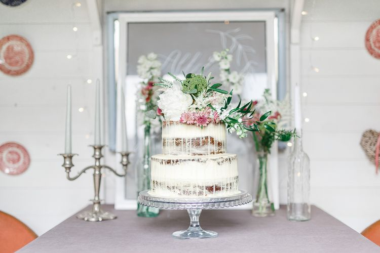 Semi Naked Wedding Cake | Secret Garden Reception at Castle Cottage Cafe, Oakham | White Stag Wedding Photography