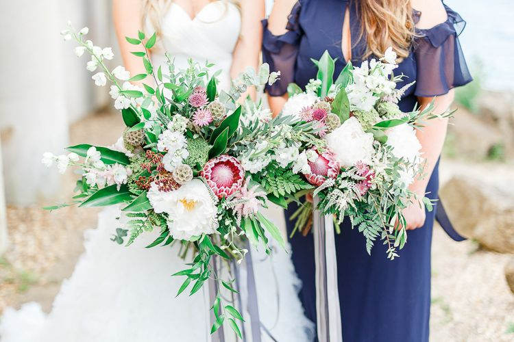 Organic Bridal Bouquets with Protea Stems & Ribbon | White Stag Wedding Photography
