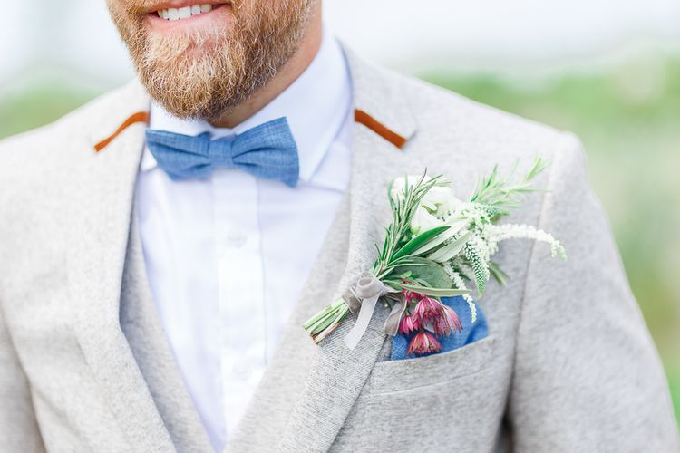 Mrs Bow Tie | Groom in Cream Herringbone Tweed Suit from Marc Darcy | White Stag Wedding Photography