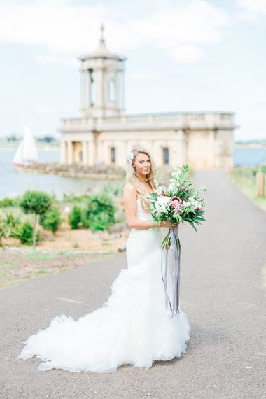 Bride in Pronovias Wedding Dress | Normanton Church on Rutland Water | White Stag Wedding Photography