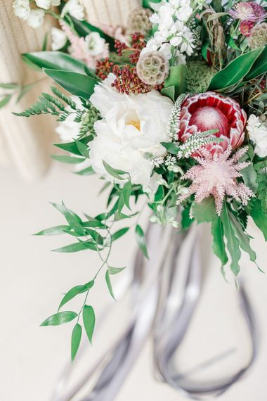 Oversized Bridal Bouquet with Protea & Ribbons | White Stag Wedding Photography