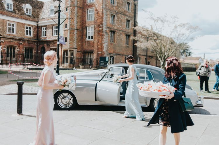 Vintage Wedding Car | Wedding Party Arrival | Classic Marquee Reception at Chippenham Park | Eliza Claire Photography