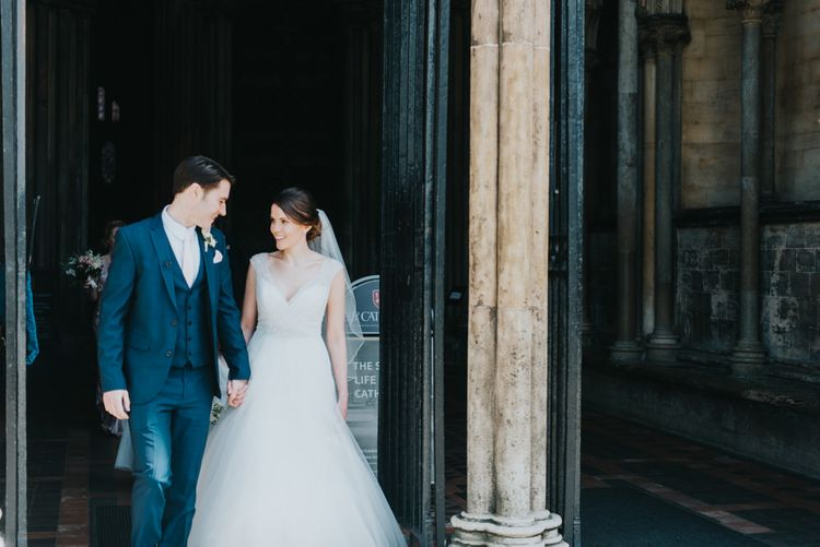 Church Wedding Ceremony | Bride in Sophia Tolli Gown | Groom in Next Suit | Classic Marquee Reception at Chippenham Park | Eliza Claire Photography