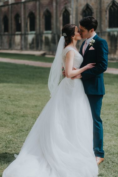 Bride in Sophia Tolli Gown | Groom in Next Suit | Classic Marquee Reception at Chippenham Park | Eliza Claire Photography