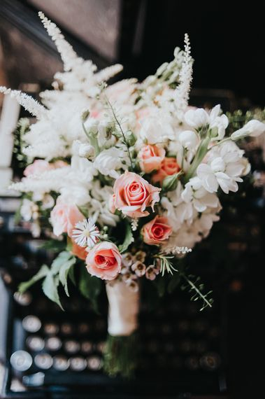 White Stocks & Pink Spray Rose Bouquet | Classic Marquee Reception at Chippenham Park | Eliza Claire Photography