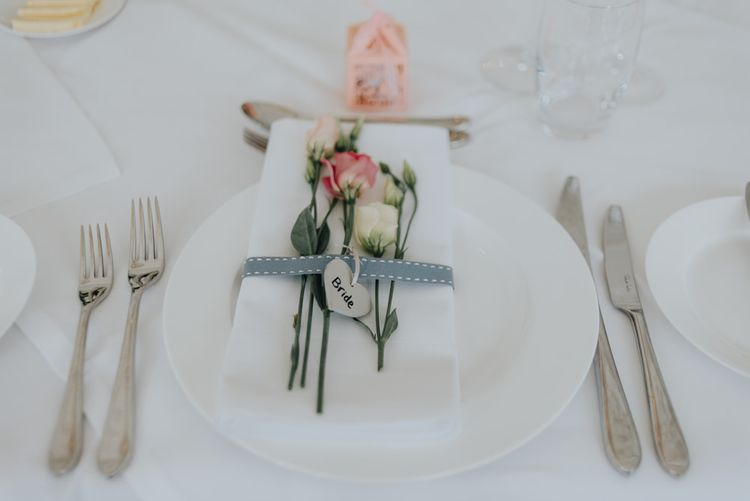 Delicate Floral Place Setting | Classic Marquee Reception at Chippenham Park | Eliza Claire Photography