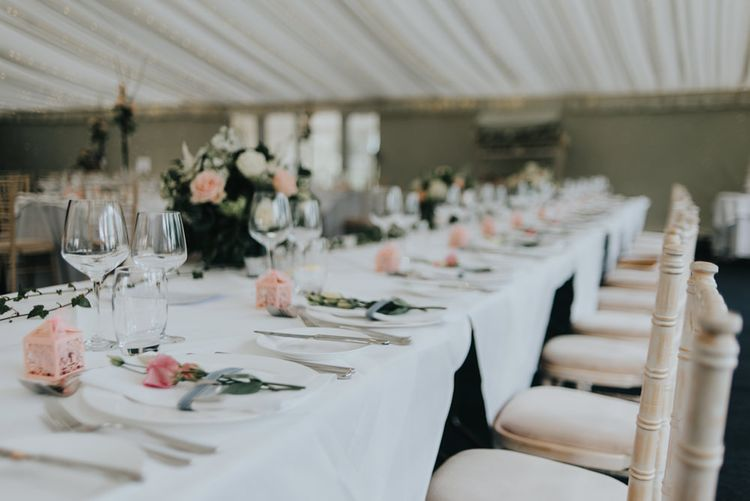 Place Setting | Classic Marquee Reception at Chippenham Park | Eliza Claire Photography