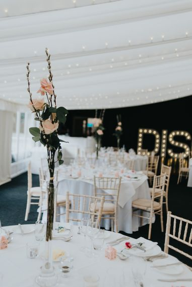 Tall Flower Stem Centrepiece | Classic Marquee Reception at Chippenham Park | Eliza Claire Photography