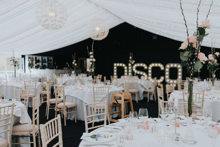 DISCO Light up Letters | Classic Marquee Reception at Chippenham Park | Eliza Claire Photography