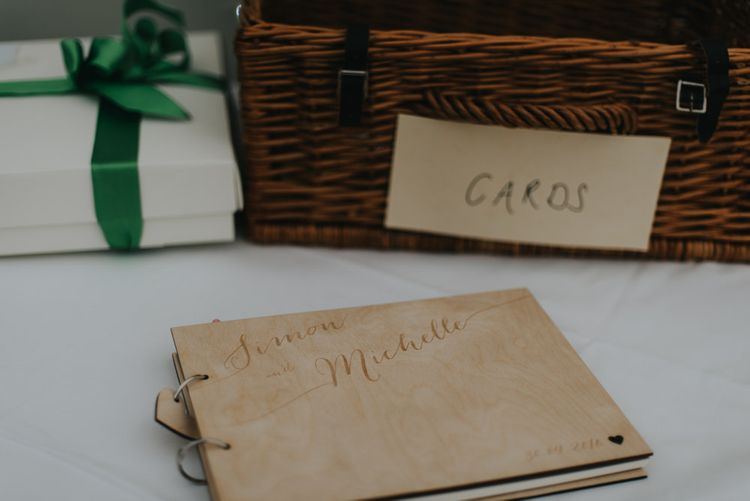 Wooden Guest Book | Classic Marquee Reception at Chippenham Park | Eliza Claire Photography