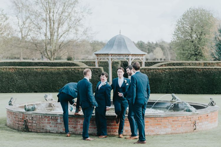 Groomsmen in Next Navy Suits | Classic Marquee Reception at Chippenham Park | Eliza Claire Photography