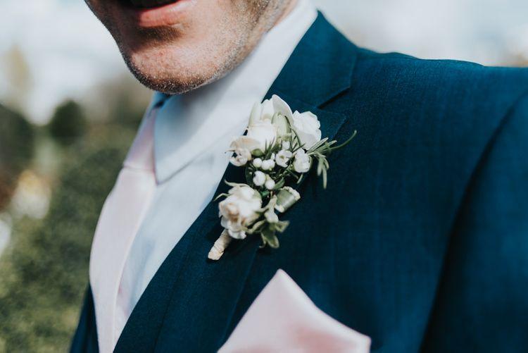 White Buttonhole | Next Grooms Suit | Classic Marquee Reception at Chippenham Park | Eliza Claire Photography
