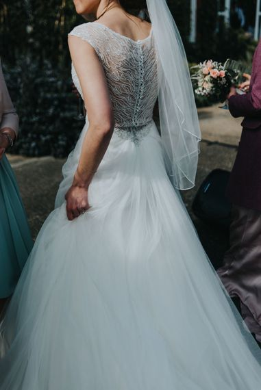Back of Sophia Tolli Bridal Gown | Classic Marquee Reception at Chippenham Park | Eliza Claire Photography