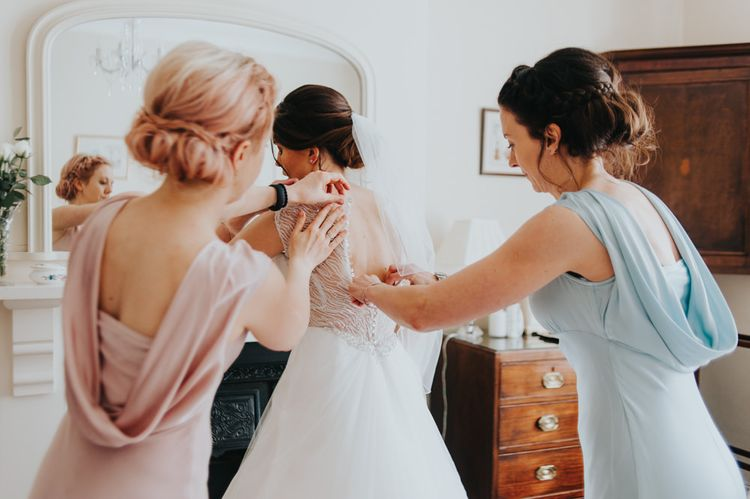 Getting Ready | Bride in Sophia Tolli Gown | Bridesmaids in Pastel Ghost Gowns | Classic Marquee Reception at Chippenham Park | Eliza Claire Photography