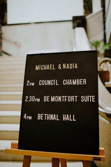 Peg Board Wedding Sign | London Townhall Hotel Wedding | Irene Yap Photography